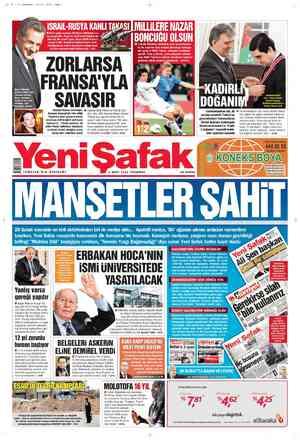 Yeni Şafak Gazetesi 1 Mart 2012 kapağı