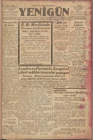 Yenigün (Antakya) Gazetesi 26 Eylül 1939 kapağı