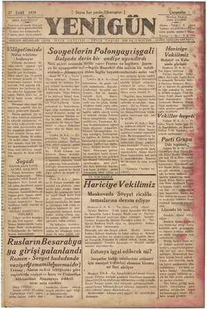 Yenigün (Antakya) Gazetesi 27 Eylül 1939 kapağı