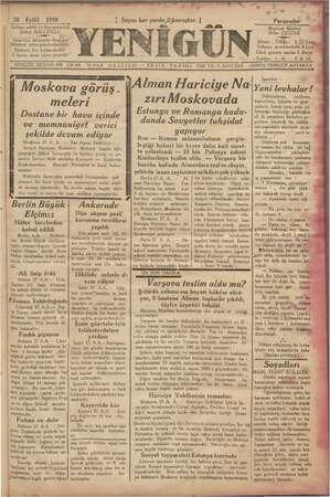 Yenigün (Antakya) Gazetesi 28 Eylül 1939 kapağı