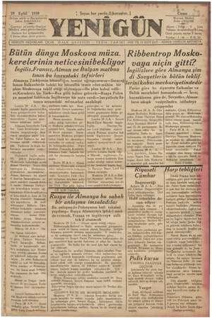 Yenigün (Antakya) Gazetesi 29 Eylül 1939 kapağı
