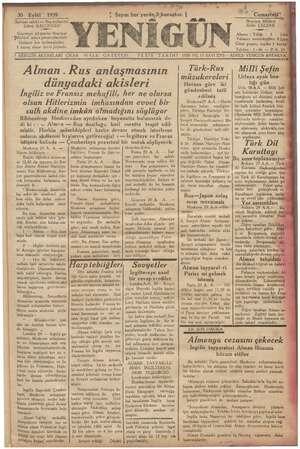 Yenigün (Antakya) Gazetesi 30 Eylül 1939 kapağı
