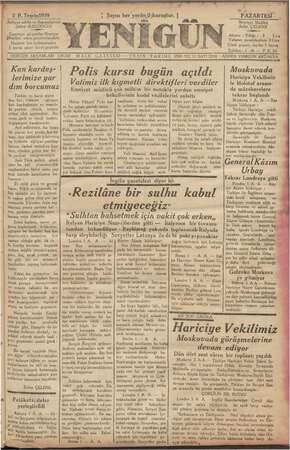 Yenigün (Antakya) Gazetesi 2 Ekim 1939 kapağı
