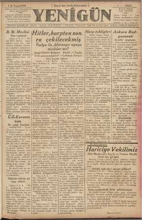 Yenigün (Antakya) Gazetesi 3 Ekim 1939 kapağı