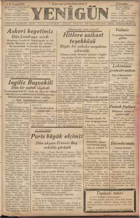 Yenigün (Antakya) Gazetesi 4 Ekim 1939 kapağı