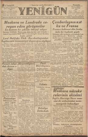 Yenigün (Antakya) Gazetesi 5 Ekim 1939 kapağı