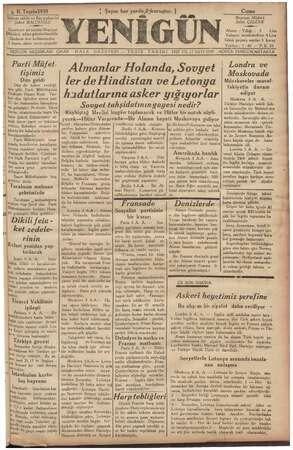 — 6 B. Teşrinl939 İltiyaz sahibi ve Baş muharri sahibi ve Baş muharriri Şükrü BALCIOĞLU » Gazeteye ait yazılar yelek ley