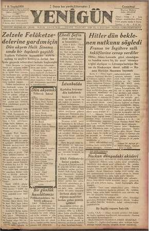 Yenigün (Antakya) Gazetesi 7 Ekim 1939 kapağı