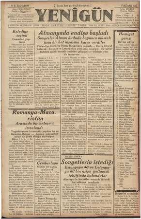 Yenigün (Antakya) Gazetesi 9 Ekim 1939 kapağı
