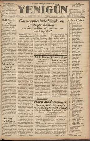 Yenigün (Antakya) Gazetesi 10 Ekim 1939 kapağı