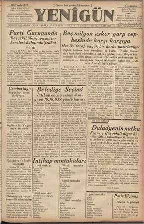 Yenigün (Antakya) Gazetesi 11 Ekim 1939 kapağı