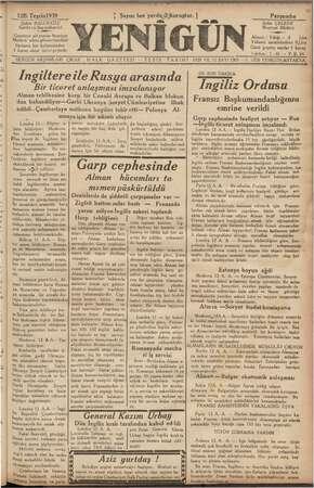 Yenigün (Antakya) Gazetesi 12 Ekim 1939 kapağı