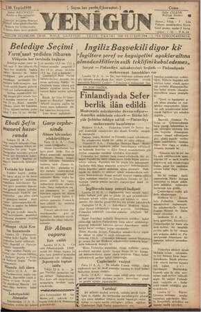 Yenigün (Antakya) Gazetesi 13 Ekim 1939 kapağı