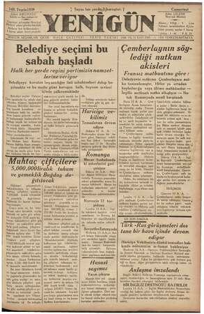 Yenigün (Antakya) Gazetesi 14 Ekim 1939 kapağı