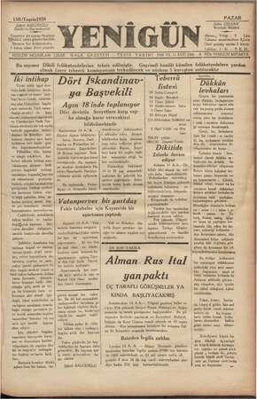 Yenigün (Antakya) Gazetesi 15 Ekim 1939 kapağı