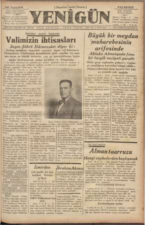 Yenigün (Antakya) Gazetesi 16 Ekim 1939 kapağı