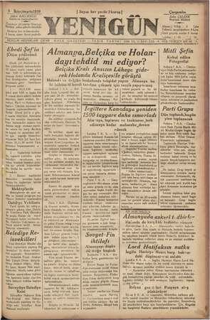 8 İkinciteşrin!939 Şükrü 'BALCIOĞLU Sahibi ve Baş'muharriri Gazeteye ait yazılar Neşriyat Müdürü adına gönderilmelidir lam