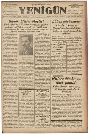 © Şükrü BALCIO Sahibi ve baş; mike Gazeteye ait yazılar Neşriyat Müdürü adına gönderilmelidir İlânların her kelimesinden 5
