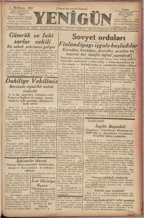 """w lan rai """" Gi : vi 1 İlkKânun 1939 Şükrü BALCIOĞLU, Sahibi ve Baş muharriri — m — » Gazeteye ait yazılar Neşriyat, Müdürü"""""""