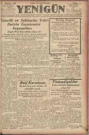 3 İlkkânun 1939 | eri BALCIOĞLU, ahibi ve Başmuharriri alamaz I Eid heriyerde 2kuruş| Pazar Selim ÇELE, iç Neşriyat aki :