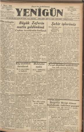 """2 Nisan 1940 Şükrü BALCI CIOĞL Sahibi ve © Başlmuharriri e eleye ait yazılar!Neşriyat Wdürü"""" adına gön, nderilme idir lr her"""