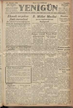 """31  lkteşrin"""" 1940 """"Şükrü BAL LCIOĞLU, Sahibi ve Başlmulh muharriri Sazeteye ait yazılar;Neşriyat ; """"iüdürü adına..."""