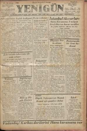 """""""93 ilk kânun Şükrü BALCIOGLU Sahibi ve Başmuharriri m Gazeteye ait yazılar Neşriyat üdürü adına gönderilmelidir Uânların"""