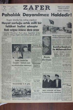 Zafer Gazetesi 8 Mayıs 1949 kapağı