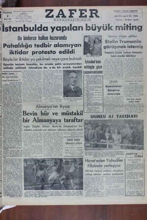 Zafer Gazetesi 9 Mayıs 1949 kapağı