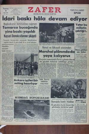 Zafer Gazetesi 16 Mayıs 1949 kapağı