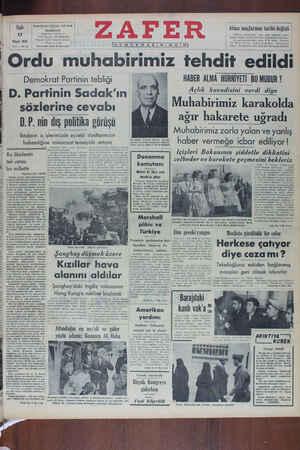 Zafer Gazetesi 17 Mayıs 1949 kapağı