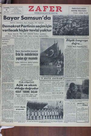 Zafer Gazetesi 18 Mayıs 1949 kapağı