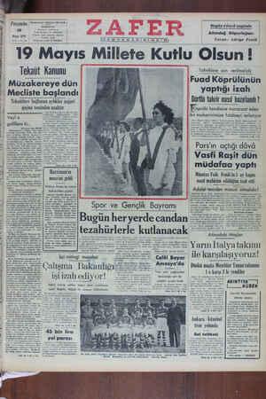Zafer Gazetesi 19 Mayıs 1949 kapağı