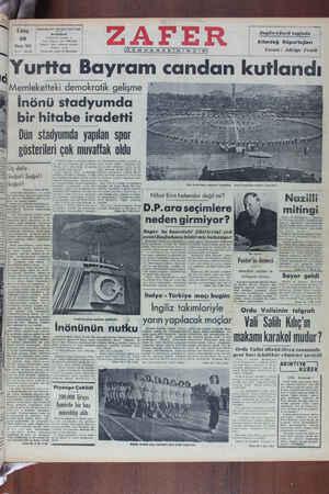 Zafer Gazetesi 20 Mayıs 1949 kapağı