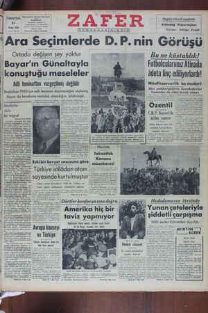 Zafer Gazetesi 21 Mayıs 1949 kapağı