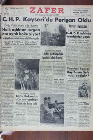 Zafer Gazetesi 22 Mayıs 1949 kapağı