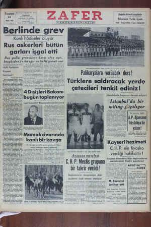 Zafer Gazetesi 23 Mayıs 1949 kapağı