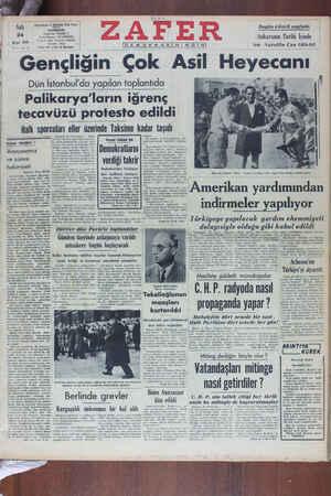 Zafer Gazetesi 24 Mayıs 1949 kapağı