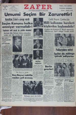 Zafer Gazetesi 25 Mayıs 1949 kapağı
