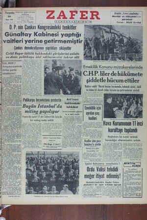 Zafer Gazetesi 26 Mayıs 1949 kapağı