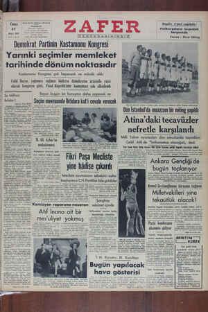 Zafer Gazetesi 27 Mayıs 1949 kapağı