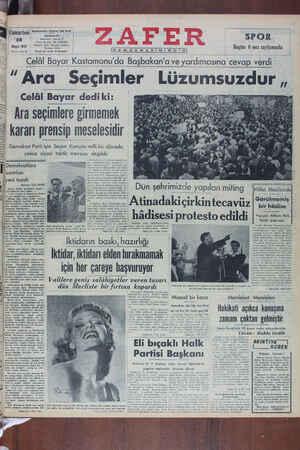 Zafer Gazetesi 28 Mayıs 1949 kapağı