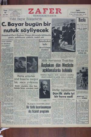 Zafer Gazetesi 29 Mayıs 1949 kapağı