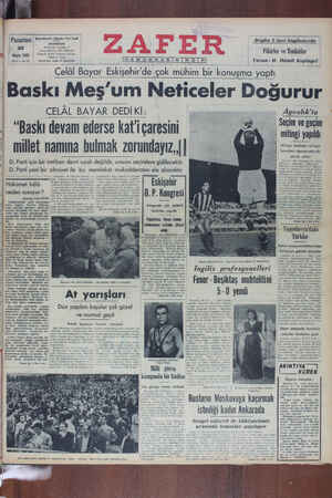 Zafer Gazetesi 30 Mayıs 1949 kapağı
