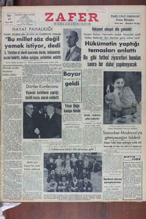 Zafer Gazetesi 31 Mayıs 1949 kapağı
