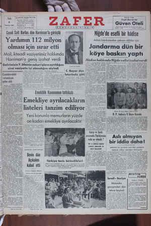 Salı 5 Temmuz 1949   sar ae CBIHIİ Sait Barlas dün Harriman'la guruştu Yardımın 112 milyon olması için ısrar etti Mali,...