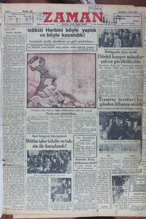 Zaman Gazetesi 1 Eylül 1934 kapağı