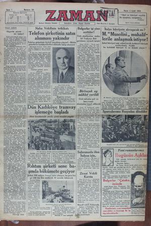 Zaman Gazetesi 2 Eylül 1934 kapağı