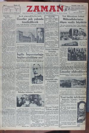 Zaman Gazetesi 5 Eylül 1934 kapağı