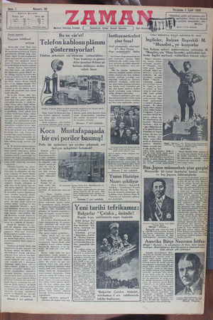 Zaman Gazetesi 6 Eylül 1934 kapağı